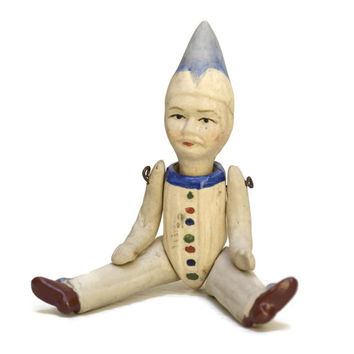 Vintage Clown Doll. French Bisque Doll. French Mignonette. Porcelain Figurine Doll.