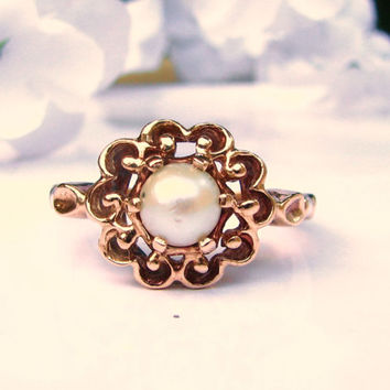 Vintage Pearl Engagement Ring 10K Yellow Gold Scroll Filigree Alternative Engagement Ring June Birthstone Ring Bridal Jewelry Size 5!