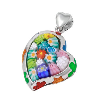 "Sterling Silver Multicolor Glass Murano Millefiori Glass Pendant Small Curved Heart  (Free 18"" Chain)"