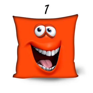 Colorful Laughing Joke Face Pillow Cover 20 inch Funny Throw Pillow Pillowcase Sofa Decorative Pillow Living Room Decor
