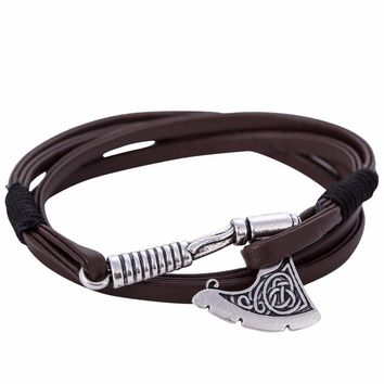Dawapara Hot Selling Axe Wrap anchor Bracelet Leather Accessories Slavic Perun Men Leather bangle Bracelets men Jewelry 2017