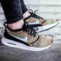Nike Air Max Thea Ultra Flyknit Trending Comfortable breathable Running shoes Sneakers  B-CSXY Rainbow Colorful Yellow