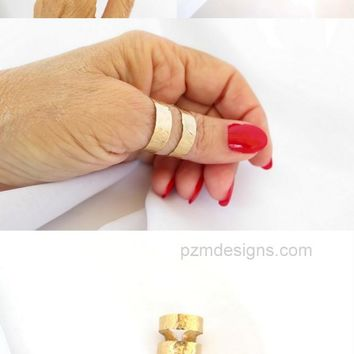 Gold thumb ring, hammered brass double band ring