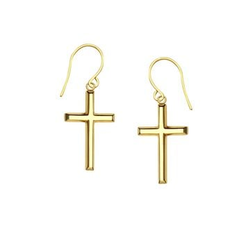 14K Yellow Gold Shiny Cross Drop Earrings