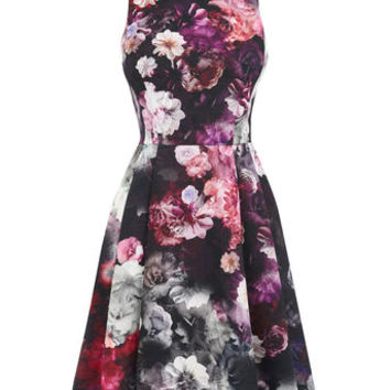 WINTER FLORAL SKATER DRESS