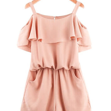 Shoulder Cut-Out Ruffled Blouson Chiffon Romper