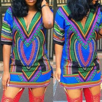 Chicloth Multi V-neck African Vintage Tribal Print Dress