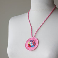 Pink Crochet Necklace with Turkish Crochet oya, Women accessories, NEW, Oya, Floral, Handmade, Spring Trends Fashion