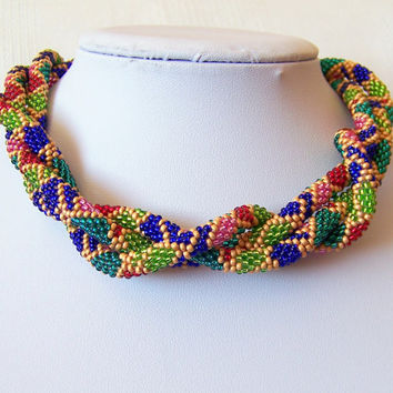 Long Beaded Crochet Rope Necklace - Beadwork - Seed beads jewelry - Elegant - Geometric  - Patchwork - Blue red pink emerald green gold