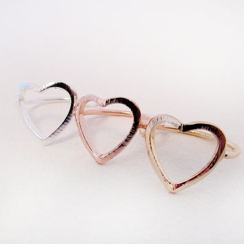Heart Outline Ring, Heart Cutout Ring, Minimal Contemporary Heart design Ring in 18k Gold Plated, Silver Plated or Rose Gold Plated