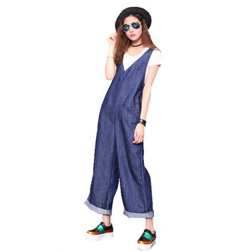 Women's fashion loose denim wide leg pants Ninth crop jeans Casual straight overalls Roll up hem ankle length jumpsuirs