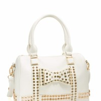 Studded Bow Bowler Bag