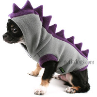 Dog Costume Dinosaur Spikes Grey fleece dog Hoodie