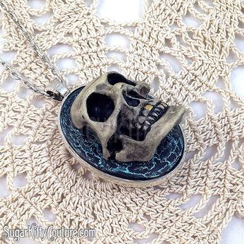 Handpainted 3D Skull Statement Cameo Necklace