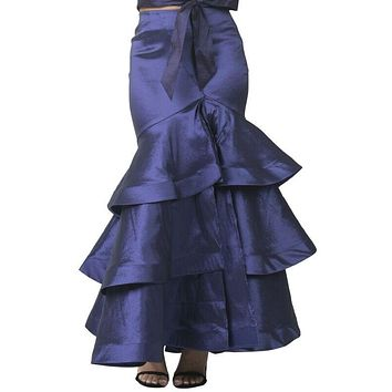 3 Layer Ruffle Bottom Long Skirt