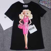 2017 Summer Women Barbie T-shirt Tops Casual Short Sleeve Cartoon Barbie Print Cotton Short T Shirt Femme Tee Tees Plus Size S~4XL