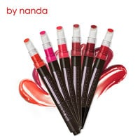 Lip Makeup 6 Color Air Cushion Button Lipstick Matte Long Lasting Lip Gloss Waterproof Moisture Mousse Lipgloss Nude with Brush