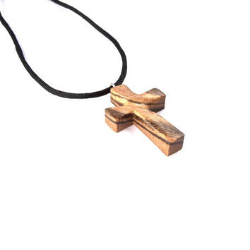 Wooden Cross Necklace, Wooden Cross Pendant, Wood Carved Cross, Wooden Jewelry, Handmade Cross, Wooden Carved Pendant, Christian Jewelry