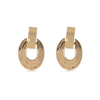 River Island Womens Gold tone door knocker earrings