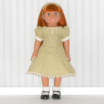 American Girl Doll Clothes Green Panel Dress with Polka Dots 1940s Era with Headband and Beige Slip fits 18 inch dolls