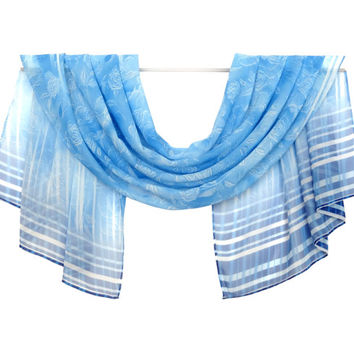 SALE, Buy Any 2 Scarf Get 1 For Free, Chiffon Scarf, Blue Scarf, Silk Scarf,  Pattern Scarf, Wrap Silk Scarf, Women Gift, women Scarf