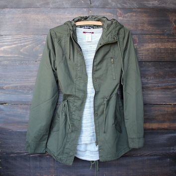 Womens Hooded Utility Parka Jacket With Drawstring Waist   Olive Green