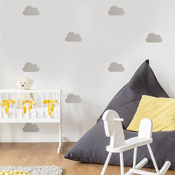 25 Metallic Silver, Gold, White or Color Nursery Cloud Vinyl Wall Decals, Peel and Stick Removable Wall Stickers