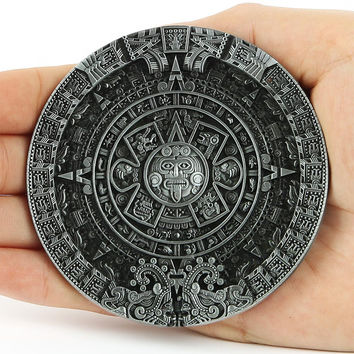 New Fashion Brand Buckles For Mens New Vintage Pewter Aztec Calendar Circle Belt Buckles Mayan Indian