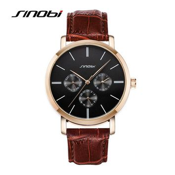 SINOBI Casual Wrist Watches For Mens Top Brands Luxury Leather Strap Quartz Watch Man Dress Watch Waterproof Males 2016 Clocks