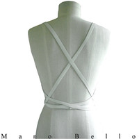 Chalk Leather Wrapping Body Harness, Extra Long Wedding Dress Sash, Leather Infinity Scarf, White Leather, in stock