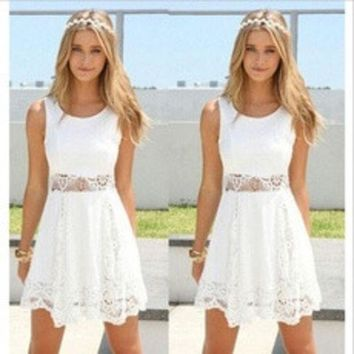 ca DCCKTM4 2016 Summer Women's Elegant Sleeveless White Lace A-line Dress  [8384273415]