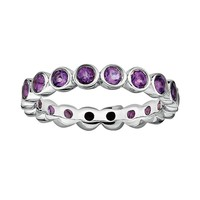 Stacks & Stones Sterling Silver Amethyst Stack Ring (Purple)