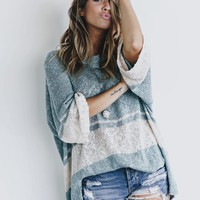 On Hold Loose Fit Faded Blue Sweater Top