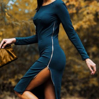 Long Sleeves Zip Side Slit Bodycon Midi  Dress