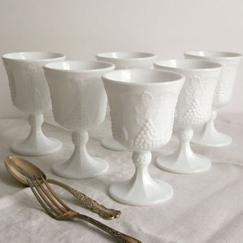 Vintage Colony Milk Glass Goblets white Harvest Grape wine glasses holiday dinner table green cottage chic shabby chic Christmas
