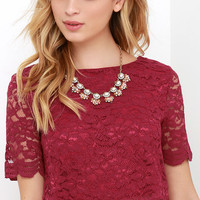 When You Believe Wine Red Lace Crop Top