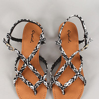 Qupid Boa Sandals Black & White