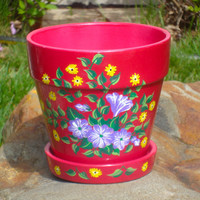 Hand Painted Pink Flowerpot With Purple and Yellow Flowers