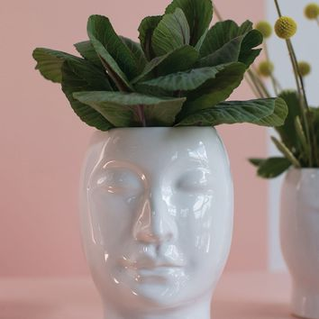 "Ceramic Beau Face Vase in White - 6.75"" Tall x 5.25"" Wide"