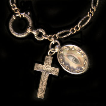 Gorgeous Antique French Silver Bracelet With Silver Reliquary Charm w Lover's Eye Painting & Antique Cross