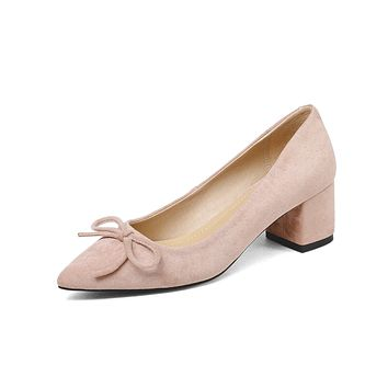 Pointed Toe Medium-heeled Shallow-mouth Butterfly-knot Large Chunky Pumps