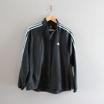 Adidas Windbreaker Black 3 Stripes Light Weight Water-proof Shell Adidas Zip Up Jacket