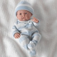 "Mini La Newborn Boutique - Realistic 9.5"" Anatomically Correct Real Boy Baby Doll dressed in BLUE - All Vinyl Open Mouth Designed by Berenguer - Made in Spain"