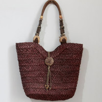 Straw beach bag/Ladies Hand-woven Shopping Beach Basket Fully Lined Straw Bag / Satchel Bag Tote