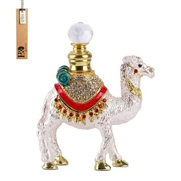 7ML Hand Made Enamelled Stand Camel Gift Perfume Bottle Metal Crystal Glass 4.5*3.5 inch