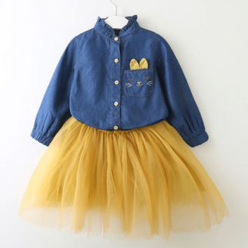 Girls Outfit Sets Soft Denim Top Tulle Skirt For Toddler