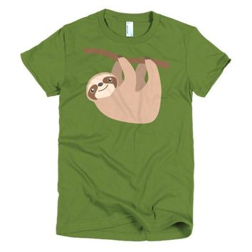 Cute Sloth on a Branch Short sleeve women's t-shirt