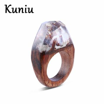 Fashion Natural scenery wood rings For Women and mens white resin ring party jewelry Dropshipping