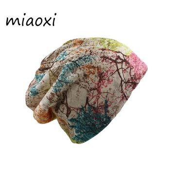 miaoxi Fashion Women Spring Hat Brand Caps Scarf Two Used Casual Adult Floral Girl's Beanies Skullies Casual Bonnet