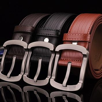 New Cowskin Belt For Mens Vintage Wide Pin Buckle Belt High Quality Male Black Business Casual Cowskin Strap